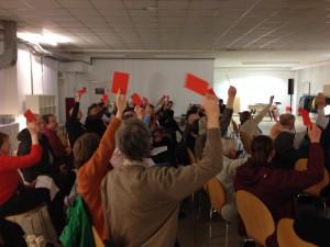 Abstimmung der Mitglieder der BürgerEnergie Lübeck eG auf der 2. Generalversammlung